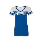 Women's Football V-Neck White and Royal Blue